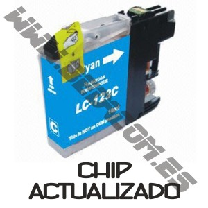 cartucho compatible Brother LC121XL / LC123XL Cyan V3 CHIP ACTUALIZADO